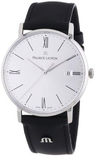 Eleganter Zeitmesser Maurice Lacroix EL1087-SS001-110 Eliors mit poliertem Edelstahlgehäuse und schwarzem Lederarmband