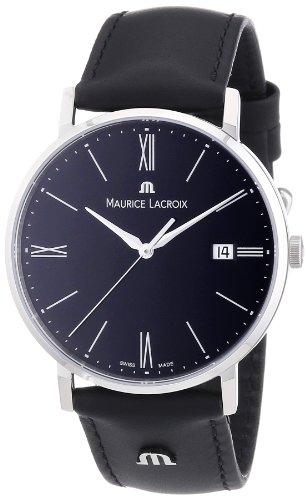 Zeitlose Herrenuhr Maurice Lacoirx Eliros mit schwarzem Zifferblatt und Kalbslederarmband