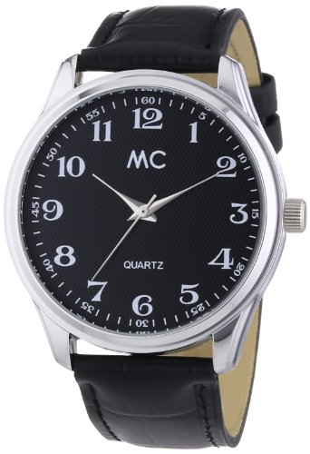 Schicke Herren-Armbanduhr 27657 von MC Timetrend mit schwarzem Zifferblatt und Lederarmband