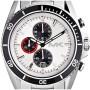 Sportlicher Herrenchronograph Michael Kors MK8339 mit weißem Zifferblatt, schwarzer Lünette, Edelstahlgehäuse und roten Aktzenten