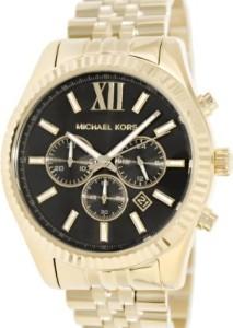 Michael Kors MK8286 Herrenuhr mit schwarzem Zifferblatt und goldenem Gehäuse und Armband