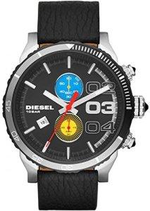 Diesel Herrenuhr Franchise Dz4331 mit schwarzem Lederarmband und farbigen Chronographen-Augen