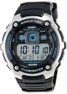 Schwarze Casio AE-2000W-1AVEF mit großem Digitaldisplay, blauem Display und vielen Funktionen