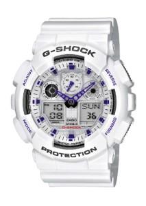 XXL-Herrenuhr Casio G-Shock GA-100A-7AER mit weißem Gehäuse und Armband