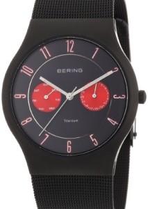 Schwarz-Rote Herrenarmbanduhr Bering 11939-229 mit schwarzem Zifferblatt und Milanaisearmband