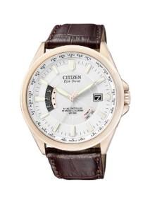 Citizen Herren-Armbanduhr mit weißem Zifferblatt und braunem Lederarmband