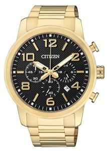 Goldener Citizen Herren-Chronograph AN8052-55E mit schwarzem Zifferblatt