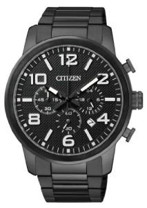Komplette schwarze Herrenuhr Citizen AN8055-57-E mit elegantem Design
