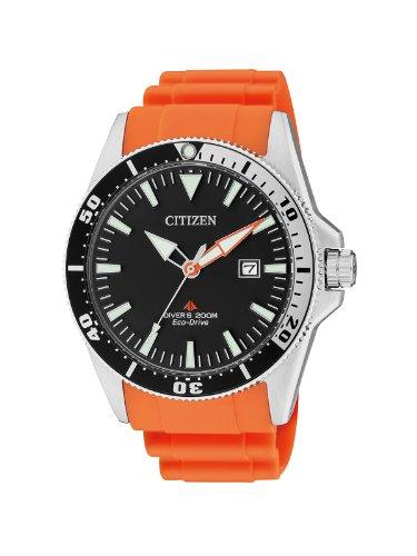 Citizen Promaster BN0100-18E Taucheruhr mit orange Kunststoffarmband und schwarzem Zifferblatt