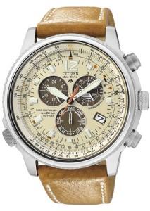 Männer-Chronograph Citizen Promaster mit beigem Zifferblatt, braunen Funktionsaugen und elegantem Design