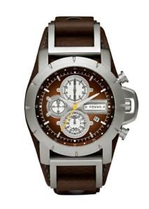Modische Männer-Uhr Fossil JR1157 mit braunem Zifferblatt und Lederarmband