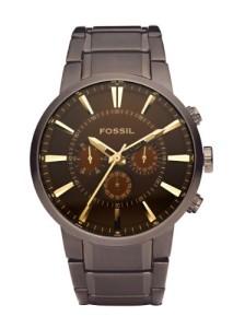 Braune Herrenarmbanduhr Fossil FS4357 mit elegatnem Design und goldenen Indizes