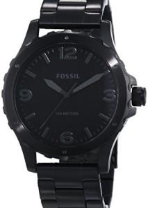 Schwarze Armbanduhr Fossil Nate JR1458 für Herren mit dunkelgrauen Indizes