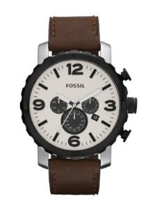 Massive Herren-Armbanduhr Fossil Nate mit braunem Lederarmband