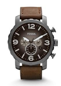 Edelstahl-Chronograph Fossil JR1424 mit Grau und Braun