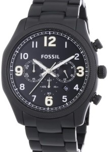 Schwarze Herrenuhr mit silbernen Indizes und Zeigern Fossil FS4864