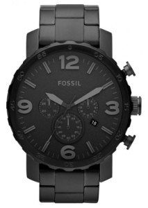 Schwarze Edelstahl-Herrenuhr Fossil Nate JR1401