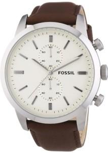 Elegante Herrenarmbanduhr Fossil FS4865 mit weißem Zifferblatt und braunem Lederarmband