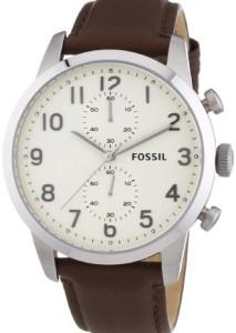 Zeitlose Herrenarmbanduhr Fossil FS4872 Townsman mit cremefarbenen Zifferblatt