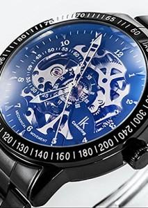 Schwarze Armbanduhr Alienwork IK Automatik mit skelettiertem Zifferblatt