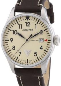 Retro-Herrenuhr mit beigem Zifferblatt und braunem Vintage-Armband