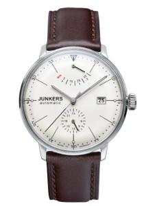 Elegante Herrenuhr Junkers Bauhaus mit hellem Zifferblatt und braunem Lederarmband