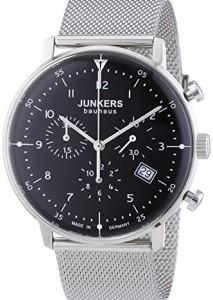 Zeitloser Herren-Chronograph Junkers Bauhaus mit Edelstahlgehäuse, schwarzem Blatt und Milanaisearmband