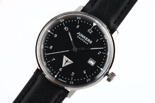 Junkers Bauhaus Uhr 6046-2 mit schwarzem Zifferblatt und reduziertem Design