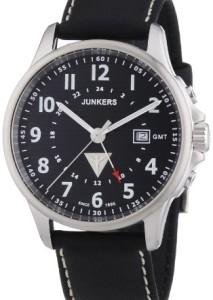 Junkers GMT-Herrenuhr mit schwarzem Zifferblatt und 2. Zeitzone