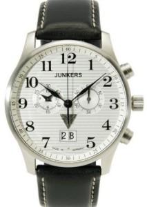 Herren-Chronograph Junkers 6686-1 Iron Annie JU52 mit Edelstahlgehäuse und schwarzem Lederarmband