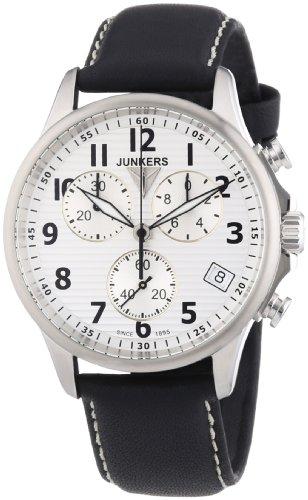 Junkers Chronograph mit silberfarbenen Zifferblatt und schwarzem Lederarmband