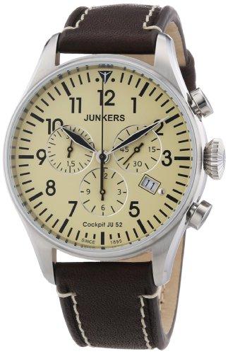 Retro-Fliegeruhr Junkers 6180-5 mit braunem Vintage-Lederarmband