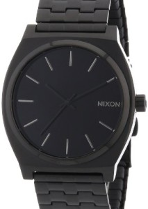 Komplett schwarze Herrenarmbanduhr Nixon All Black A045001-00 Time Teller