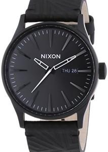 Schwarze Herrenurh Nixon Sentry Leather A1051617-00