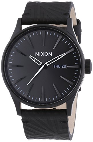 Schwarze Herrenurh Nixon Sentry Leather A1051617-00