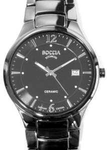Schwarze Keramikuhr für Herren Boccia 3575-01