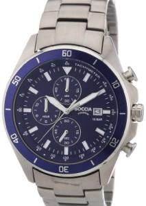 Silber-Blaue Boccia Herren-Armbanduhr 3762-02 Sport mit Chronograph