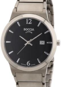 Boccia Titanium 3565-02 Superslim mit schwarzem Zifferblatt