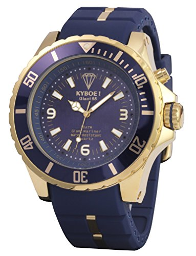 Gold-Blaue Herrenuhr Kyboe KG-002 Giant 55
