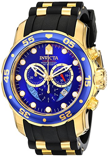 Schwarz-Gold-Blaue Invicta Herren-Armbanduhr 6983 Pro DIver