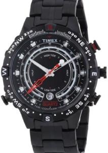 Schwarze Kompassuhr Timex Adventure Tide Temp Compass T2P140