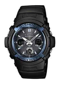 Schwarz-blaue Casio G-Shock mit Digitalanzeigen und analoger Anzeige