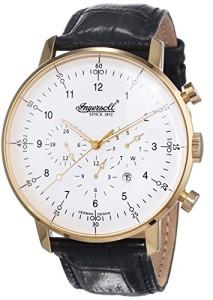 Klassische Ingersoll Herren-Armbanduhr Houston IN2816GWH mit goldenem Gehäuse