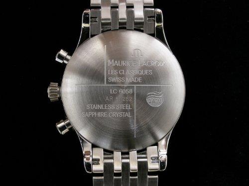 Msttierter Edelstahlboden des Maurice Lacroix Automatik-Chronographen