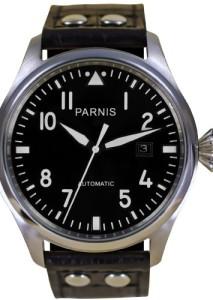 PARNIS Automatikuhr Modell 2006 mit schwarzem Blatt und Fliegeruhr-Design
