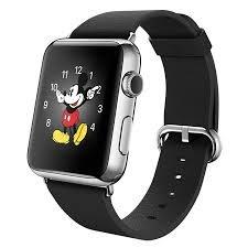 Apple Watch Smartwatch mit schwarzem Lederarmband