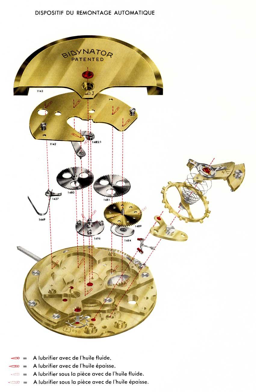 Zeichnung des patentierten Uhrwerks Bidynator