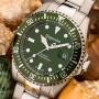 Gigandet Automatik Herren-Armbanduhr Sea Ground Taucheruhr Uhr Datum Analog Edelstahlarmband Grün Silber G2-008