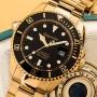 Schwarz-Goldene Automatikuhr Sea Ground G2-004 von Gigandet