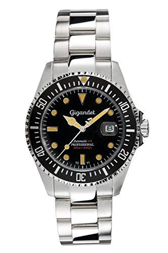 Gigandet Automatik Herren-Armbanduhr Sea Ground Vintage Taucheruhr Uhr Datum Analog Edelstahlarmband Schwarz Silber G2-007